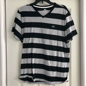 Lacoste Men's 5 Grey and black stripe V neck shirt
